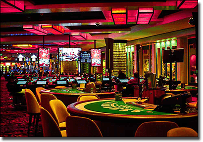 Crown Casino poker and blackjack tables