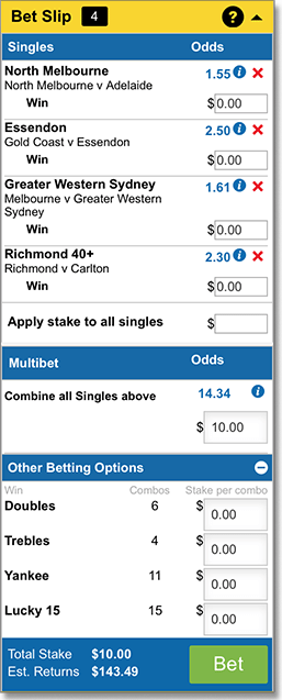 AFL multi bet