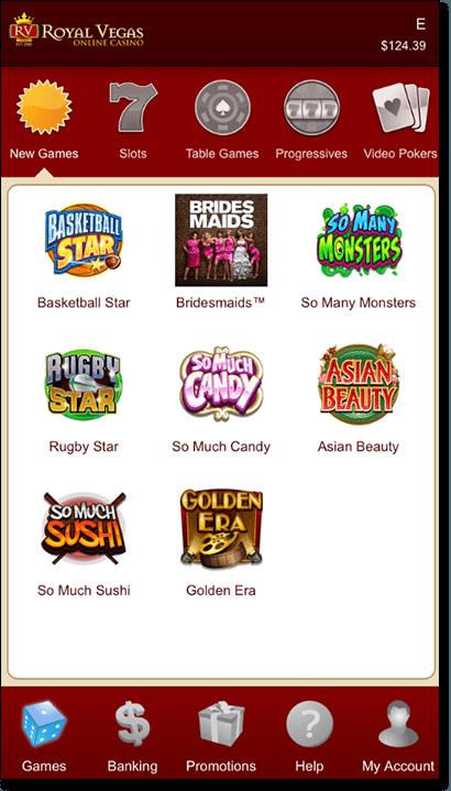 Royal Vegas Casino mobile app interface