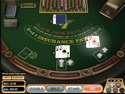 Super 7s Blackjack online by BetSoft